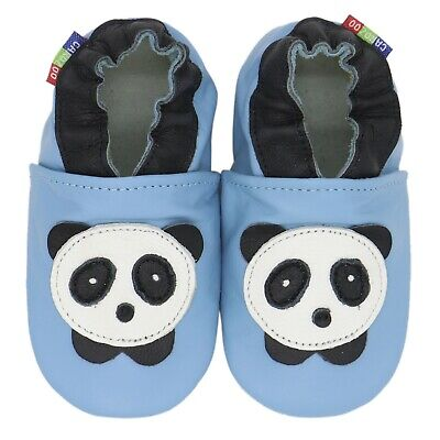 carozoo panda baby blue 4-5y soft sole leather kids shoes
