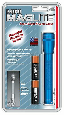 Maglite M2A116 Blue Blister Pack Mini-Mag 2-AA Cell Flashlight with batteries