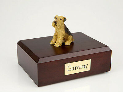 Airedale Terrier Pet Funeral Cremation Urn Avail in 3 Different Colors & 4 Sizes