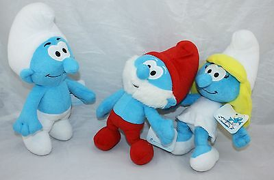 3X 13'' The Smurfs Clumsy Papa Smurfette Smurf Plush Toy Soft Doll Teddy New