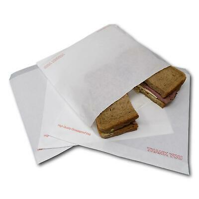 """100 8.5"""" x 8.5"""" White Thank You Greaseproof Food Cake Sweet Sandwich Paper Bags"""