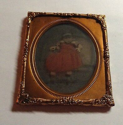 EARLY 1/6th AMBROTYPE PORTRAIT OF A YOUNG CHILD SITTING HAND COLORED  #11a