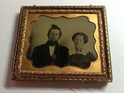EARLY 1/6th AMBROTYPE  FUNNY BIRDS NEST HAIR DOO ON MALES HEAD 1860s   #5a