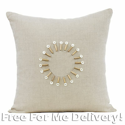 DESIGNER AURORA BEADED LINEN CUSHION RRP $99 43x43cm **FREE DELIVERY**