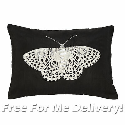 DESIGNER MOTH EMBROIDERED BLACK CUSHION RRP $99 33x48cm **FREE DELIVERY**
