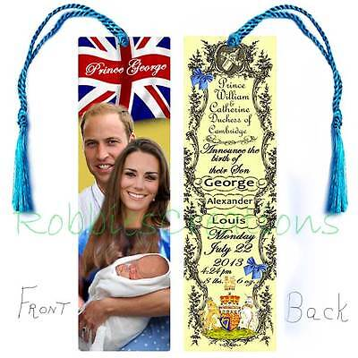 BABY GEORGE Royal Birth Announcement BOOKMARK w/Tassel PRINCE WILLIAM KATE Card