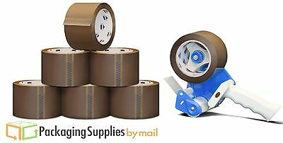 "6 Rolls 2"" x 110 Yards Tan Packing Tape 1.8 Mil + Free 2"" Tape Gun Dispenser"