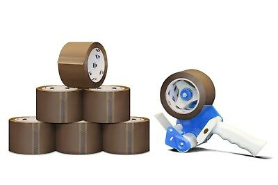"12 Rolls 2"" x 110 Yards Tan Packing Tapes 2.3 Mil + Free 2"" Tape Gun Dispenser"