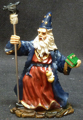 """WARD OFF   Wizard with Staff and Crystal Book   Statue  Figurine  H4.5"""""""