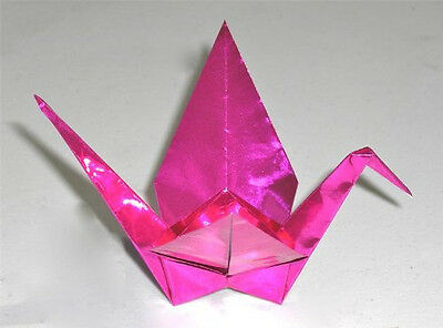 """Pack of 100 Sheets Japanese 3.5"""" FOIL Fuchsia Pink Origami Paper, Made in Japan"""