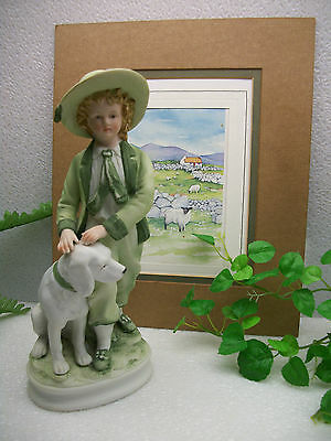 "Andrea by Sadek Porcelain MAN Boy with Dog  9 1/2"" Figure Figurine  #7154  JAPAN"
