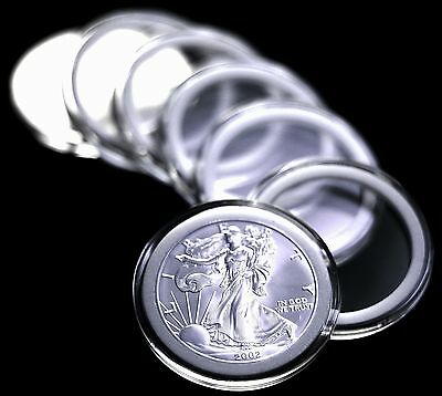 25 Airtite Coin Capsule Holders w WHITE Rings for American Silver Eagle Dollar