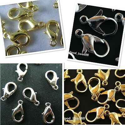 Wholesale Silver/Gold Lobster Claw Clasp Jewelry Findings 10/12/14/18/21mm