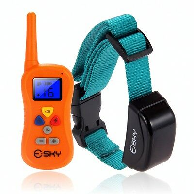 330 Yard Rechargeable 100 Level Shock Vibra Remote Collar For Medium/Large Dog