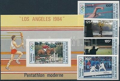 Ivory coast stamp Los Angeles Olympics imperforated set + imperf. block WS127905