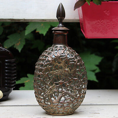 VERY RARE VINTAGE MID CENTURY MODERN DECANTER BOTTLE SILVER PLATED ART DECO ÈRE