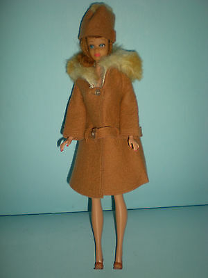 1964 Barbie Cold Outside Coat & Hat worn by Excellent Titian Midge Doll
