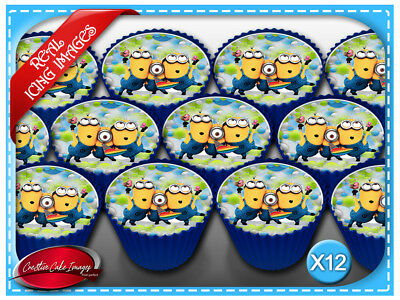Despicable Me Minions Edible Icing Image Cupcake Cake Decoration Party Toppers