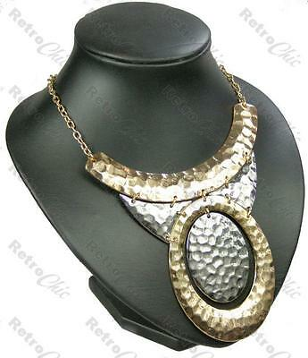 BIG hammered BIB CURVED COLLAR NECKLACE retro GOLD/SILVER TONE choker PENDANT