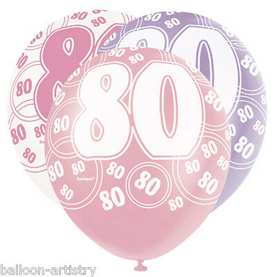 6 Assorted PINK Glitz 80th Birthday Printed Balloons