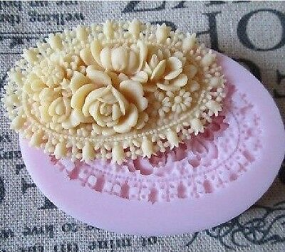 Oval Rose Flower Silicone Mould for Polymer Clay Candy Chocolate Fondant