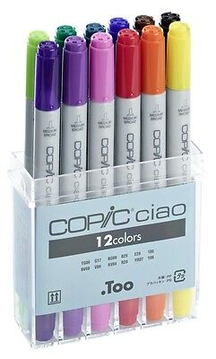 Copic Ciao Marker - 12 Standard Colour Set - Refillable With Copic Various Inks