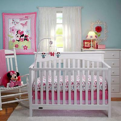 Disney Minnie Mouse Pink Flowers & Butterfly Baby Girls Nursery 3 Pc Bedding Set
