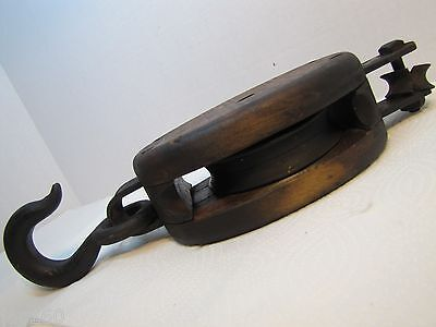 Antique Pulley - Block and Tackle Wood and Cast Iron heavy duty - Anvil marking