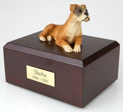 Boxer Ears Down  Pet Funeral Cremation Urn Avail in 3 Different Colors & 4 Sizes