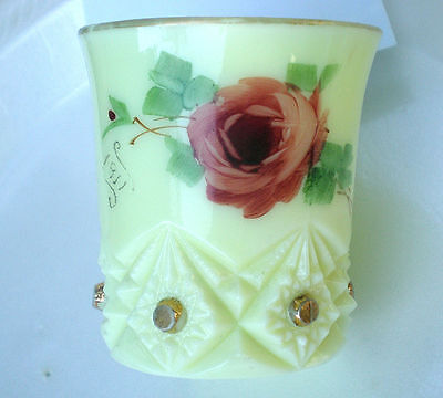 "Vintage custard glass Red roses ""MAY"" ""1911"" souvenir Baby Cup"