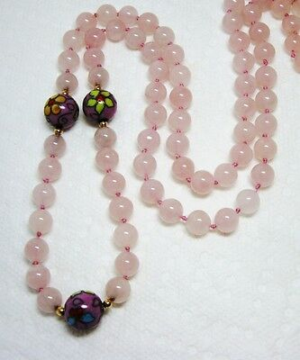 """Old Chinese Export Hand Knotted 8mm Pink Rose Quartz Cloisonne Bead Necklace 25"""""""