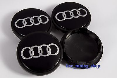 4 emblem logo nabendeckel felgendeckel nabenkappen audi. Black Bedroom Furniture Sets. Home Design Ideas