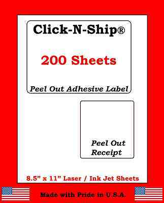 200 Laser /Ink Jet Labels Click-N-Ship with Peel Off Receipt -Perfect for USPS!