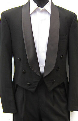 Black 6 Button Shawl Tuxedo Tailcoat Wedding Prom Costume Theater Dance 40XL