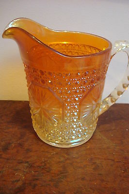 """Antique Imperial Carnival Marigold pitcher two colors, 6 """" tall"""