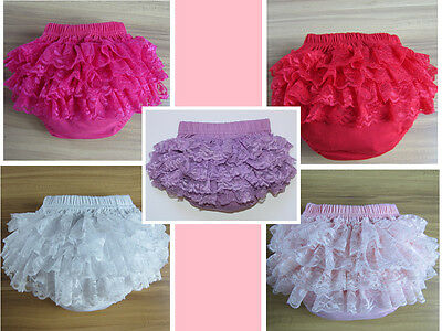 Newborn Baby Ruffle Bloomers Infant Toddler Lace Nappy Cover Panties Phot Prop