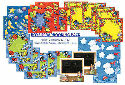 "SCRAPBOOKING PAPER, Child Theme - Boys, Mixed Pack 24, 30cm x 30cm, 12"" x 12"""