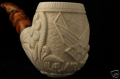 US Air Force USFA Emblem  HandCarved Block Meerschaum Pipe a fitted CASE 5103