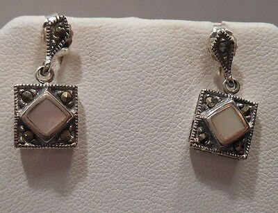 Vintage Antique Estate~Mother of Pearl & Marcasite 925 Silver Ornate Earrings