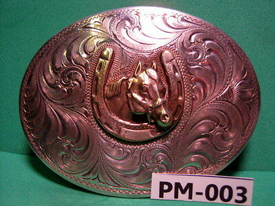SSS Solid STERLING SILVER FRONT HorseHead in Horse Shoe Belt Buckle MAKE OFFER
