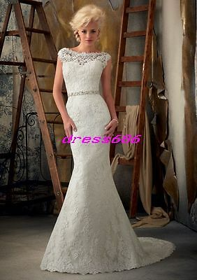 2013 Elegant New Long White/Ivory Lace Bridal Gown Wedding Dresses Custom Sexy