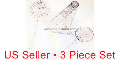 3 Piece Goniometer Set - 12 inch + 8 inch + 8 inch Spinal - Great Price!! New!!!
