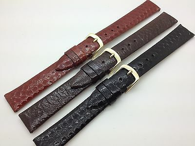 16mm Black Brown Tan Snake Skin Hadley Roma Genuine Leather Watch Band MS705