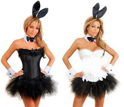 edb4c0fe6 Sexy Black or White Playboy Bunny Corset Tutu Costume 6 pc great for hens  party