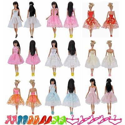 15 Items = 5 Set Handmade Mini Dresses Clothes 5 Shoes 5 Hanger For Barbie Doll