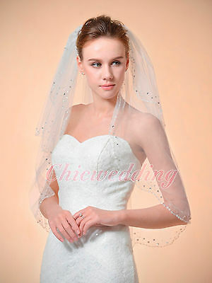2T Ivory/White Elbow Length Bridal Wedding Veil With Sequin & Rhinestone Edge