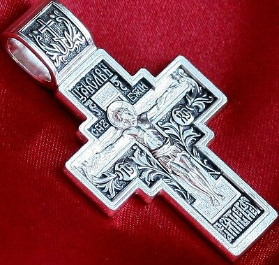 RUSSIAN GREEK ORTHODOX CRUCIFIX CROSS. 925 STERLING SILVER.MOTHER OF GOD. NEW