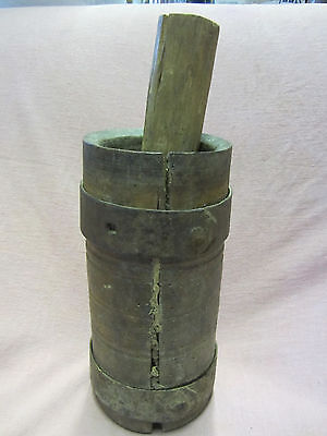 EARLY Antique Wooden MORTAR and PESTLE WROUGHT Iron Bands on Mortar-Great Patina