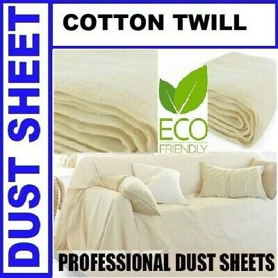 Large Cotton Twill Dust Sheets 9' x 12' DIY Builder Decorating Cover Quality