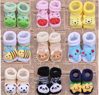 Cute Baby Girl Newborn Unisex Anti-slip Warm Socks Animal Shoes Boots 0-6 Months